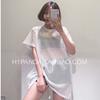 2018时尚大牌中长款后开叉透视镂空网格短袖T女洞洞运动罩衫