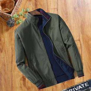 中年男士夹克春秋季立领纯棉夹克衫爸爸装双面穿男装薄款外套