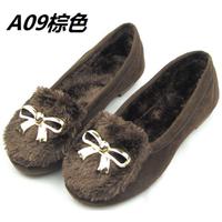 韩版冬季兔毛磨砂女鞋加厚加绒毛毛鞋圆头浅口加绒牛筋底平底单鞋
