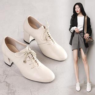2018秋季真皮系带深口单鞋粗跟女鞋子复古绑带时尚高跟鞋