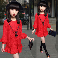 女童连衣裙夏季长袖女孩打底裙韩版春秋儿童裙子新款公主蕾丝童装