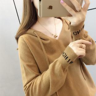 2018早秋女装短款长袖针织衫宽松连帽套头薄款慵懒风外套