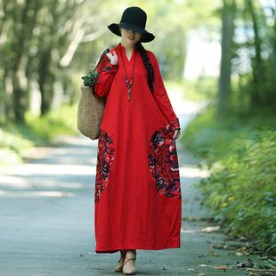 春秋装民族风女装复古中国风印花棉麻宽松大码长袖连衣裙长裙