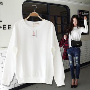 秋冬纯棉白色百搭加绒卫衣女 大码宽松套头长袖学生打底衫上