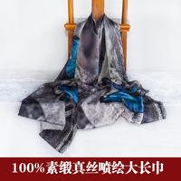 冬锦生国际100%素缎真丝桑蚕丝职业披肩围巾大长巾丝巾喷绘
