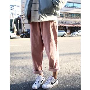 韩国ulzzang春装古着学院风超带感帅炸橡皮粉阔腿裤灯芯绒裤子女