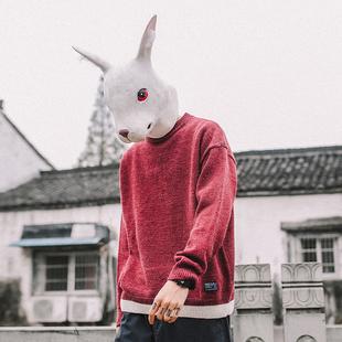 兔子先森毛衣男圆领套头春秋季潮流长袖针织衫打底毛线衣毛衫