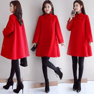 红色毛呢外套女中长款2018冬装时尚显瘦斗篷加厚呢子大衣