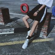原宿风运动裤女宽松BF韩国ulzzang条纹阔腿五分短裤学生跑步裤夏
