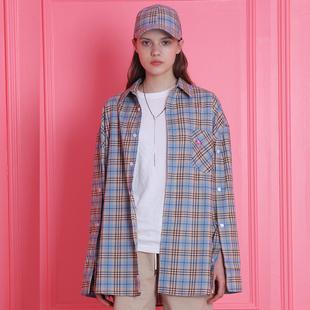 2018春韩国海豚刺绣复古格子百搭宽松长袖衬衣情侣学生上衣女衬衫