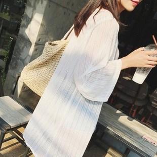 针织开衫女中长款冰丝薄款潮宽松外搭披肩雪纺亚博app官方下载夏季防晒衣