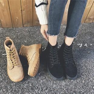 chic马丁靴女英伦风2018秋季磨砂短靴女单靴中筒平底女靴系带