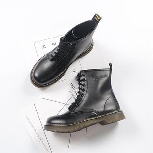 英伦风女鞋春系带短靴平底女夏马丁靴学院复古靴子学生高帮机车靴