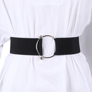 腰带女士装饰宽简约百搭配裙子大风毛衣时尚束黑色布腰封