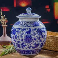 景德镇陶瓷米缸米桶青花储物罐腌菜缸水缸10斤20斤带盖