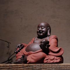 大肚招财弥勒佛摆件陶瓷米勒笑佛佛像摆设紫砂大号客厅家居装饰品