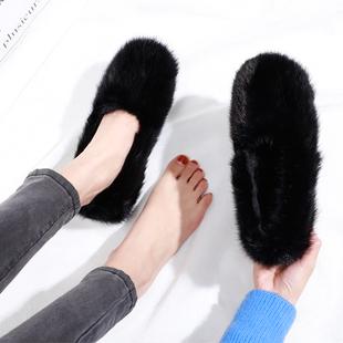 欧洲站秋季水貂毛黑色毛毛鞋加绒厚底棉瓢鞋懒人鞋貂毛瓢鞋女