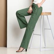 绿色棉麻长裤夏季薄款宽松直筒大码亚麻料女裤子复古风阔腿裤