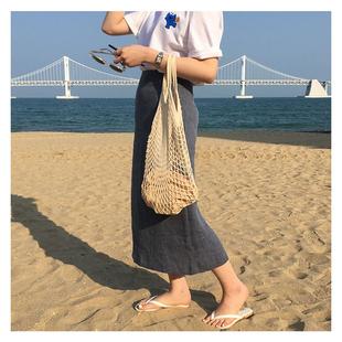 韩国ins网兜包镂空水果环保购物袋编织手提袋海边度假沙滩渔网包