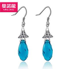 银龙正品925纯银多切面蓝水晶耳环欧美风格时尚大气耳环礼物
