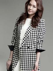2014女装新款秋装外套韩版中长款大码修身千鸟格女士风衣小西装潮