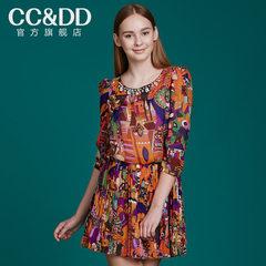 【热】CCDD2014秋装专柜正品新款女装裙甜美印花雪纺中长款连衣裙