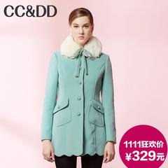 【爆】CCDD2014冬专柜正品新款女装甜美娃娃领系带羊毛呢大衣外套