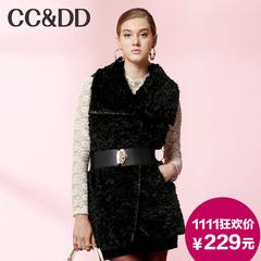 【爆】CCDD2014冬装正品新款女装 仿皮草无袖马甲 黑色中长款外套
