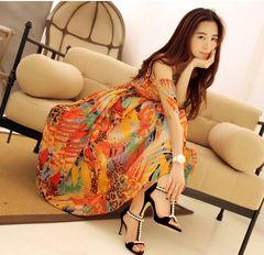 ฤดูร้อน 2013 ชีฟองเกาหลีสายรัดผู้หญิงบางกระโปรงใหญ่กระโปรงกางเกง flounced พิมพ์