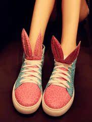 秋季新款韩版拼色高帮鞋舒适平跟松糕鞋可爱兔耳朵系带平底短靴女