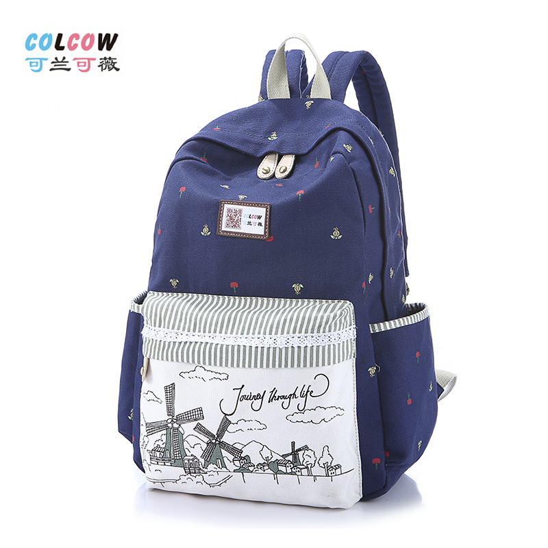 可兰可薇2014新款韩版学院风帆布背包休闲学生书包女包双肩旅行包