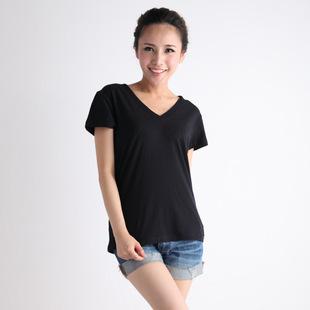 女士纯棉T恤 纯色打底衫黑白色 V领修身薄款