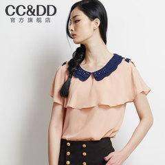 CCDD正品2014夏装新款女装露肩甜美蝴蝶结雪纺薄衬衫