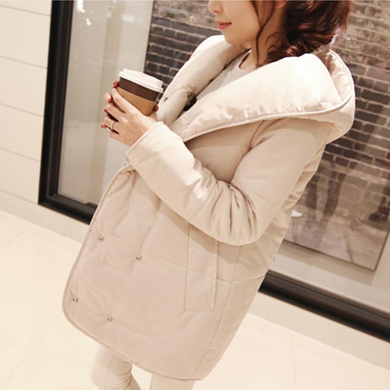 】由壹 2014冬季新品女装加厚棉服 韩版中长款双排扣连帽棉衣外套