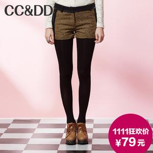【爆】CCDD2014冬装专柜正品新款女装时尚英伦PU皮袋羊毛花呢短裤