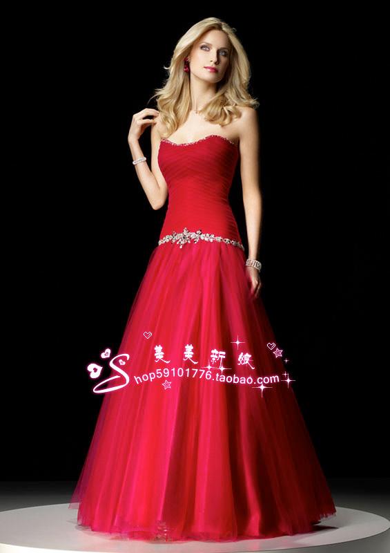 Коллекции верхней трубки выровнять красный для новобрачных принцессы стразы свадьбы торговли высшего класса Свадебные платья пользовательских корейской версии