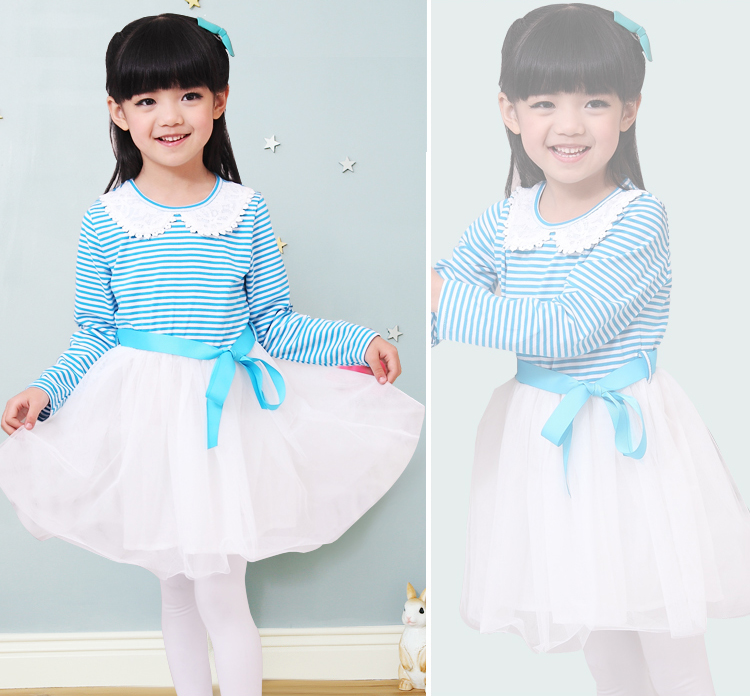 Baoyeah Jingle baby clothes girls Mitch 2013 spring new children's stitch long sleeve embroidery round neck stripes dress