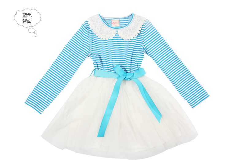 Jingle baby clothes girls Mitch 2013 spring new children's stitch long sleeve embroidery round neck stripes dress