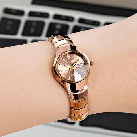 瑞士正品牌玫瑰金女表机械女士手表女防水夜光钨钢全自动时尚潮流