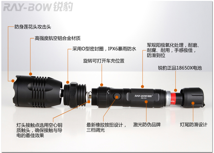 RAY-BOW Rui leopard genuine long-range outdoor rechargeable flashlight imports CREE Q5 LED RB-315 package