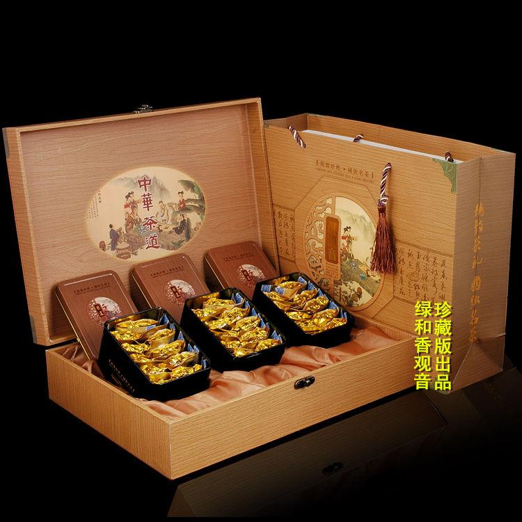 Улун Подарочный чай подарочной коробке полноценного железа богиня деревянной шкатулке подарок аромат чая Tieguanyin в штучной упаковке премиум чай подарки