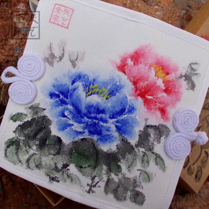 Бумажник [Tian Yi Jin] Китайский стиль ретро цветок чистый холст, ручная роспись модельные повседневные бумажник народов кошельки