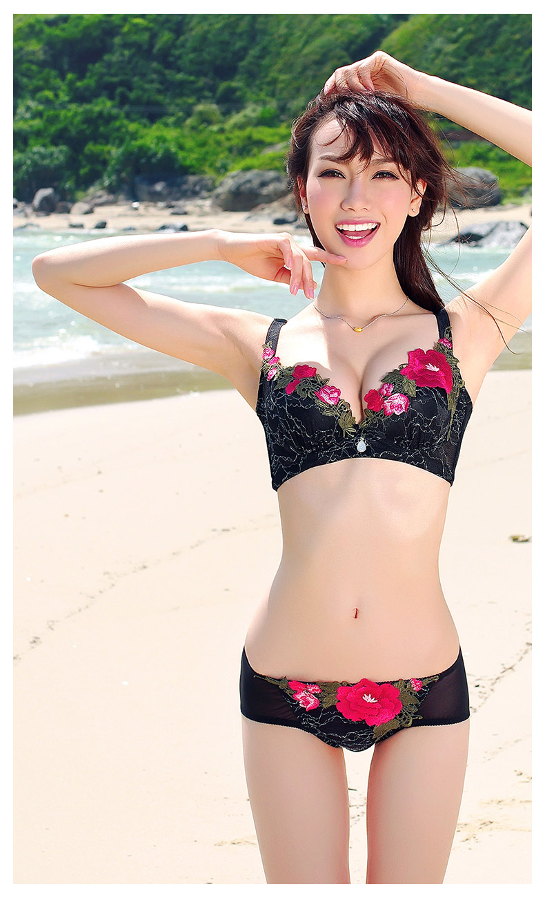 Mid-Levels 2013 Fairy Peony Silk Embroidered luxurious lingerie to gather thin bra adjustable underwear suit