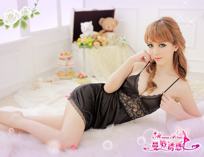 Veegol-HG Classic Lace Satin Face Cutout Braces Sexy Pajamas & Thong Set