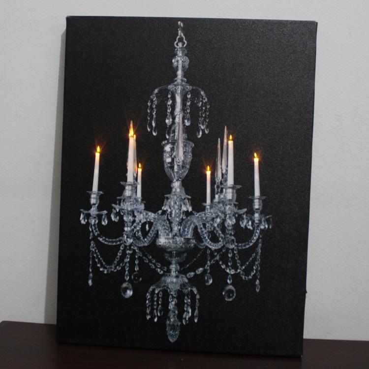 Lighted Canvas Wall Decor : Led lighted canvas chandelier artprint wall art home decor
