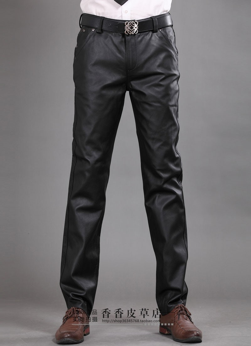 TUCANO Durable Casual Loose Personalized Leather Slim Solid Breathable Men Pants