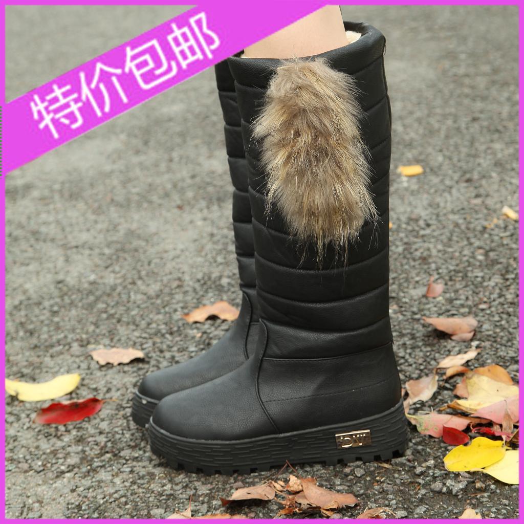 Женские сапоги Осень и Зима Снег сапоги женщин сапоги пространства увеличилась за женщин водонепроницаемые ботинки длинный толстый кролик мех сапоги Женская обувь
