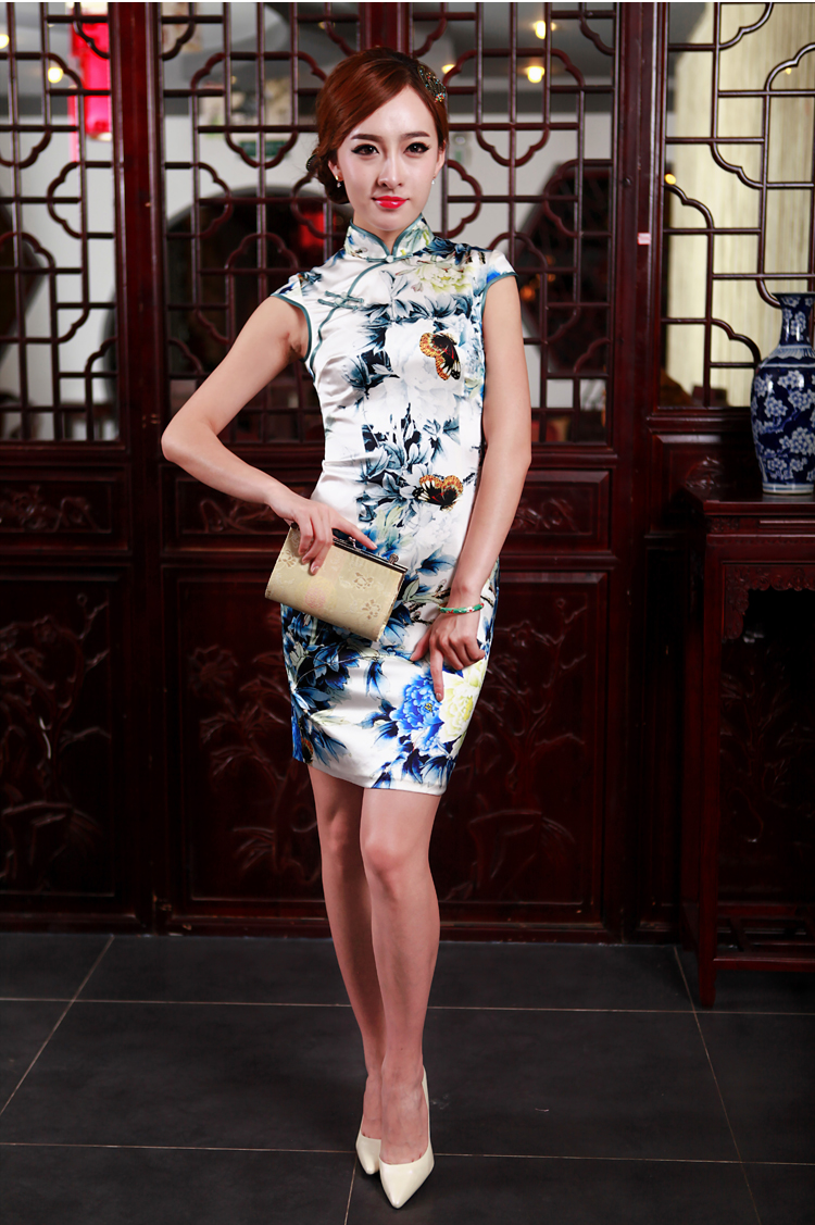Love Poetry Of birds so聽2015 Summer new improved stylish heavyweight Silk Cheongsam Blue on white flowers daily聽XL Photo, prices, brand platters! The elections are supplied in the national character of distribution, so action, buy now enjoy more preferential! As soon as possible.