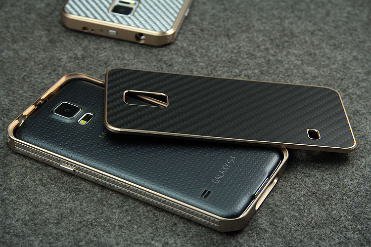 iMatch Luxury Aluminum Metal Bumper Carbon Fiber Back Cover Case for Samsung Galaxy S5