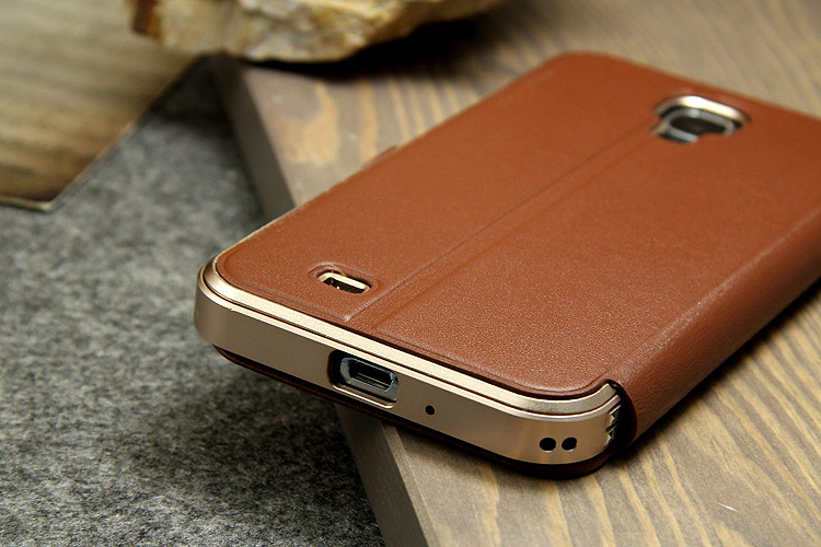 iMatch Luxury Aluminum Metal Bumper Premium Genuine Leather Flip Magnetic Case Cover for Samsung Galaxy S4